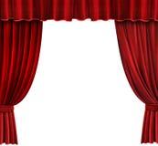 Rote Samt-Theatertrennvorhänge Stockbild