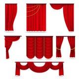 Rote Samthauptvorhänge, Scharlachrot Theaterdrapierung lokalisiert auf weißem Vektorsatz Lizenzfreies Stockbild