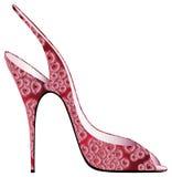 Rote Sandale mit appliqued Blüten Lizenzfreie Stockbilder