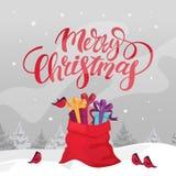 Rote Sankt-Tasche voll von Weihnachtsgeschenken vektor abbildung