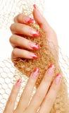 Rote schöne Fingernägel. Stockfotos