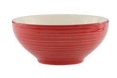 Rote Schale lokalisiert auf weißem Hintergrund Stockfotografie