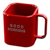 Rote Schale mit gutem Morgen der Wörter lokalisiert auf weißem Hintergrund Lizenzfreie Stockbilder