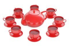 Rote Schalen mit Teekanne, Wiedergabe 3D Stockfotografie