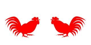 Rote Schattenbilder von Hähnen auf einem weißen Hintergrund Stockfotografie