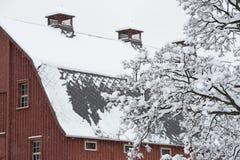 Rote Scheune bedeckt im Schnee Stockfotos