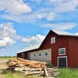 Rote Scheune in Norrbotten Lizenzfreies Stockfoto