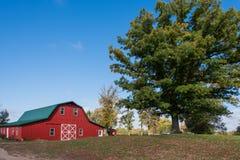 Rote Scheune und Baum Stockfoto