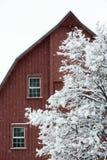 Rote Scheune während eines Schneesturms Stockbilder