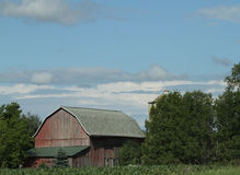 Rote Scheunen-Landschaft Wisconsins Lizenzfreie Stockfotografie