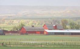 Rote Scheunen in Misty Rain On Sheep Ranch in Colorado stockfoto