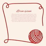Rote Schlaufe Papercut-Garn Grenze mit Thread stock abbildung