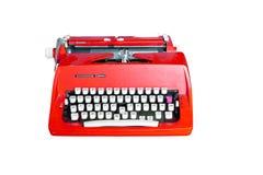 Rote schmutzige Retro- Schreibmaschine mit Ausschnittspfad Stockfoto