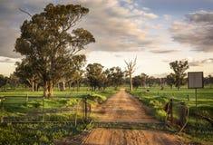 Rote SchmutzLandstraße durch ein offenes Tor Ende des Nachmittages mit langen Schatten in mittlerem West-New South Wales, Austral Stockfoto