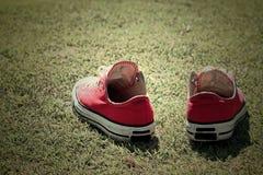 Rote Schuhe auf dem Gras - Turnschuhe Stockbild