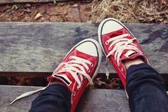 Rote Schuhe auf einem Bretterboden - Turnschuhe Stockfotografie