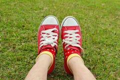 Rote Schuhe auf grünem Glas Stockbilder