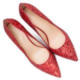 Rote Schuhe der Frauen mit Funkeln Lizenzfreies Stockbild