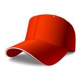 Rote Schutzkappe. Stecken Sie Ihr Zeichen oder Grafiken ein. Stockbild