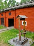Rote schwedische Kabine Stockfoto
