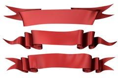 Rote silb Fahnen   Stockbild
