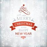 Rote silberne Weihnachtshintergrundtypographie lizenzfreie abbildung