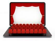 Rote Sitze auf Laptop-Computer mit leerem Bildschirm Abbildung 3D Stockfoto