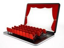 Rote Sitze auf Laptop-Computer mit leerem Bildschirm Abbildung 3D Lizenzfreies Stockbild