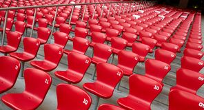 Rote Sitze im Stadion Stockbild