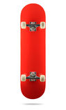 Rote Skateboardplattform auf weißem Hintergrund, lokalisierter Weg eingeschlossen Stockfotografie
