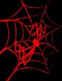 Rote Spinne auf einem Spinnennetz auf einem schwarzen Hintergrund Lizenzfreie Stockfotos