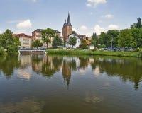 Rote Spitzen torn, Altenburg, Tyskland arkivfoto