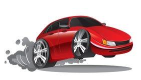 Rote Sportwagen-Karikatur Lizenzfreie Stockfotos