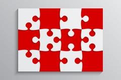 Rote Stück-Puzzlespiel-Fahne Schritt 12 Hintergrund Stockbilder