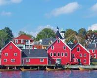 Rote Stadt-Ufergegend-Lebensdauer Stockbild