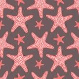 Rote Starfish - nahtloses Vektormuster Stockfotografie