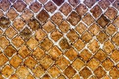 Rote Steinbacksteinmauer-Beschaffenheit, verwendet möglicherweise als Hintergrund Stockfotografie
