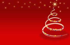 Rote Sternblumen der Weihnachtsbaum-Karte Lizenzfreie Stockfotos