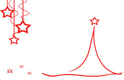 Rote Sterne und Blumen der Weihnachtsbaumkarte Stockbilder