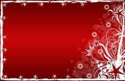 Rote Sterne und Blumen der Weihnachtskarte Lizenzfreie Stockfotografie