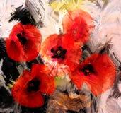 Rote stilisierte Mohnblumen auf Schmutzhintergrund Lizenzfreie Stockfotos