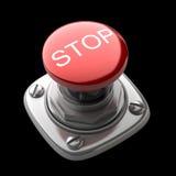 Rote STOPP-Taste getrennt Stockbilder
