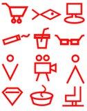 Rote Supermarktnavigationszeichen auf weißem Hintergrund, Ikonen, Speicher, Markt stock abbildung