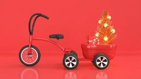 Rote Szene des Feiertagskonzeptes des neuen Jahres des Weihnachtshintergrundes mit Kinderdreiradfahrradanhängerlastszusammenfassu stock abbildung