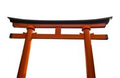 Rote Tür nannte Torii und Laterne, die in Schrein Fushimi Inari, Kyoto, Japan, Isolat gehangen wurden Lizenzfreies Stockbild