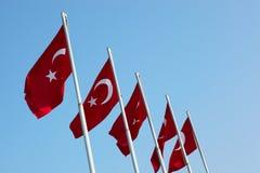 Rote türkische Markierungsfahnen stockbild