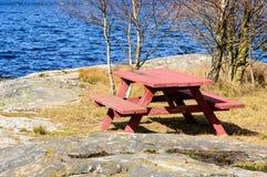 Rote Tabelle Stockbild