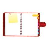 rote Tagesordnung mit Vorsprüngen und Papieranmerkungsikone Stockfotos