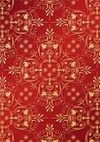 Rote Tapete mit goldener Entlastung Lizenzfreie Stockfotografie