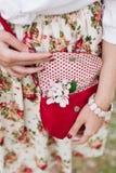 Rote Tasche der Nahaufnahme in den Händen der Frau auf der Straße Stockfoto